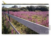 Fence And Purple Wild Flowers Carry-all Pouch