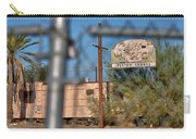 Fenced In  Abandoned 1950's Motel Trailer Carry-all Pouch