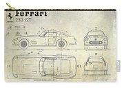 Ferrari 250 Gt Blueprint Antique Carry-all Pouch