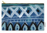 Fiesta In Blue- Colorful Pattern Painting Carry-all Pouch by Linda Woods