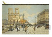 Figures On A Sunny Parisian Street Notre Dame At Left Carry-all Pouch