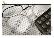 Financial Spreadsheet With Calculator And Glasses Carry-all Pouch