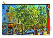 Fine Day For Baby Strollers And Bikes Art Of Montreal Street Scene Across Maitre Gourmet Cafe Carry-all Pouch