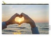 Fingers Heart Framing Ocean Sunset Carry-all Pouch