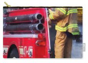 Fireman On Back Of Fire Truck Carry-all Pouch