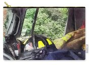 Firemen - Helmet Inside Cab Of Fire Truck Carry-all Pouch by Susan Savad