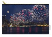 Fireworks And Full Moon Over New York City Carry-all Pouch by Susan Candelario