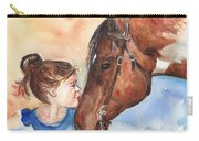 Horse Painting Of Paint Horse And Girl First Kiss Carry-all Pouch