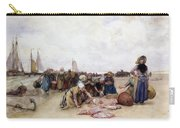 Fish Sale On The Beach  Carry-all Pouch by Bernardus Johannes Blommers
