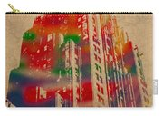 Fisher Building Iconic Buildings Of Detroit Watercolor On Worn Canvas Series Number 4 Carry-all Pouch
