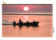 Fisherman At Sunrise Apalachicola Bay Florida  Carry-all Pouch by Bill Swindaman
