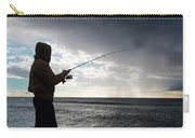 Fisherman Fishing While Storm Blows Carry-all Pouch
