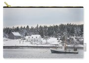 Fishing Boat After Snowstorm In Port Clyde Harbor Maine Carry-all Pouch