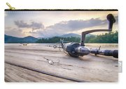 Fishing Tackle On A Wooden Float With Mountain Background In Nc Carry-all Pouch