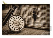 Fishing - Vintage Fly Fishing - Black And White Carry-all Pouch by Paul Ward