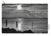 Fishing With Dad - Black And White - Merritt Island Carry-all Pouch