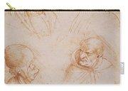 Five Studies Of Grotesque Faces Carry-all Pouch by Leonardo da Vinci