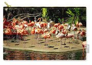 Flamingo Family Reunion Carry-all Pouch by Karen Wiles