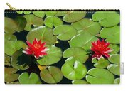 Floating Red Water Lilly Flowers On Pond Carry-all Pouch