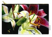 Florals In Contrast Carry-all Pouch