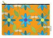 Flower And Dragonfly Design With Orange Background Carry-all Pouch