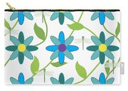 Flower And Dragonfly Design With White Background Carry-all Pouch