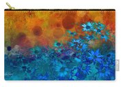 Flower Fantasy In Blue And Orange  Carry-all Pouch by Ann Powell