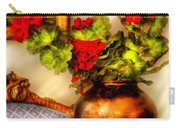 Flower - Geraniums On A Table  Carry-all Pouch by Mike Savad