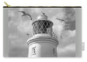 Fly Past - Seagulls Round Southwold Lighthouse In Black And White Carry-all Pouch