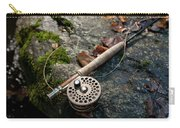 Fly Rod And Reel Detail On Mossy Wet Carry-all Pouch