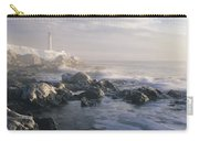 Fog And Rocky Shoreline In Winter With Carry-all Pouch