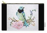 Folk Art Bird Embroidery Illustration Carry-all Pouch