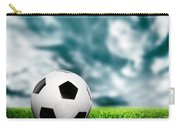 Football Soccer A Leather Ball On Grass Carry-all Pouch