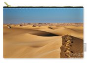 Footprints And 4x4 Offroad Car In Landscape Of Endless Dunes In Sand Desert  Carry-all Pouch