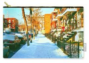 Footprints In The Snow Montreal Winter Street Scene Paintings Verdun Christmas  Memories  Carry-all Pouch