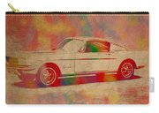 Ford Mustang Watercolor Portrait On Worn Distressed Canvas Carry-all Pouch