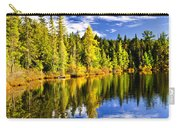 Forest And Sky Reflecting In Lake Carry-all Pouch by Elena Elisseeva