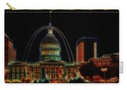 Fountain At City Garden In Neon Framed Carry-all Pouch