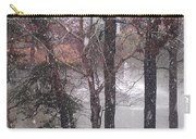 Fountain During Snowfall Carry-all Pouch