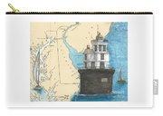 Fourteen Ft Bank Lighthouse De Nautical Chart Map Art Carry-all Pouch
