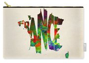 France Typographic Watercolor Map Carry-all Pouch