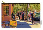 French Bread On Laurier Street Montreal Cafe Scene Sunny Corner With Vente De Garage Sign Carry-all Pouch