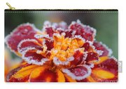 French Marigold Named Durango Red Outlined With Frost Carry-all Pouch