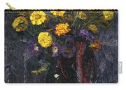 French Marigold Purple Daisies And Golden Sheaves Carry-all Pouch