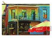 Friends On The Bench At Cartel Street Food Mexican Restaurant Rue Clark Art Of Montreal City Scene Carry-all Pouch