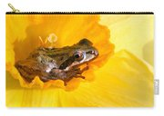 Frog And Daffodil Carry-all Pouch by Jean Noren