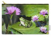 Frog And Water Lilies Carry-all Pouch