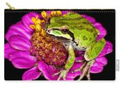 Frog  On Flower Carry-all Pouch by Jean Noren
