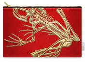 Frog Skeleton In Gold On Red  Carry-all Pouch