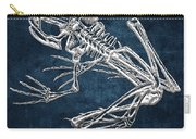 Frog Skeleton In Silver On Blue  Carry-all Pouch